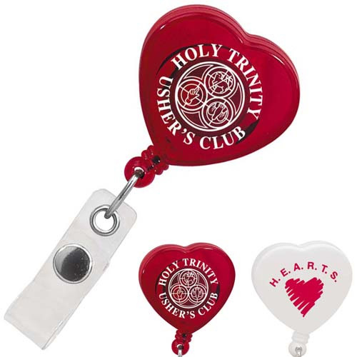 Promotional Caring Heart Retractable Badge