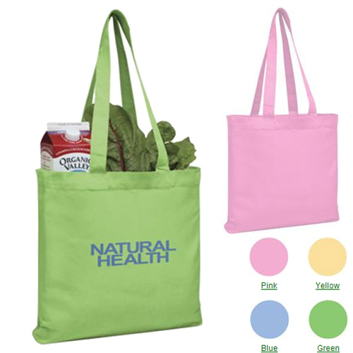 Promotional V-Natural Organic Colored Gusseted Tote