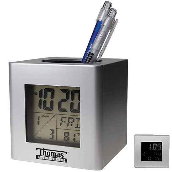 Promotional Pen Holder with Calendar & Alarm Clock