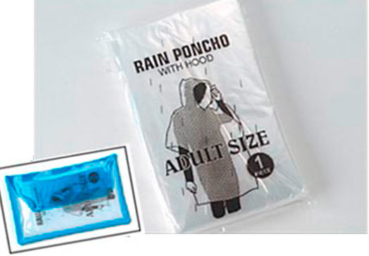 Promotional Deluxe Vinyl Pouch with Rain Poncho