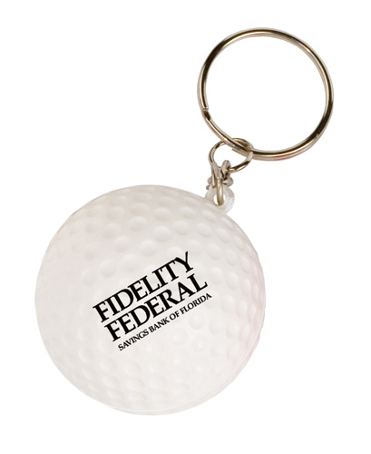 Promotional Mini Golf Ball Stress Reliever Key Tag