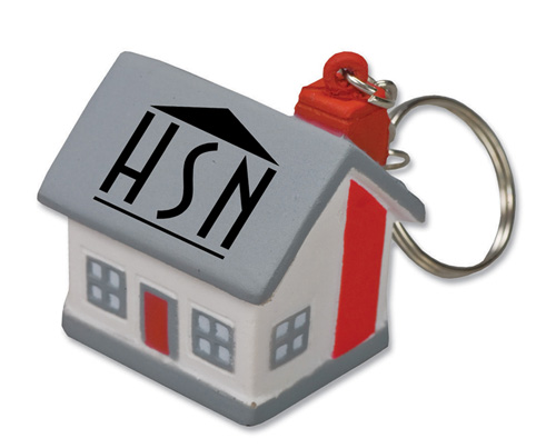 Promotional Mini Cottage/House Stress Reliever Key Tag
