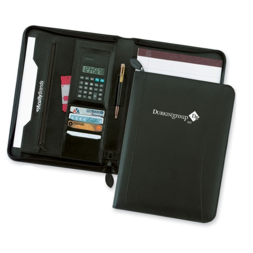 Promotional Leather Zip Calculator Folder