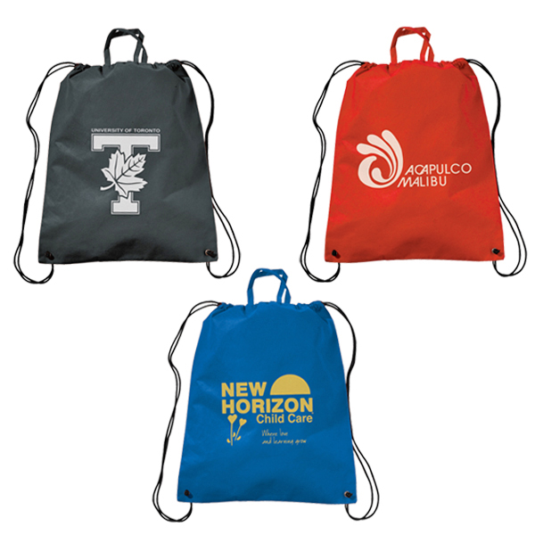 Promotional Polytex Drawstring Backpack With Handle