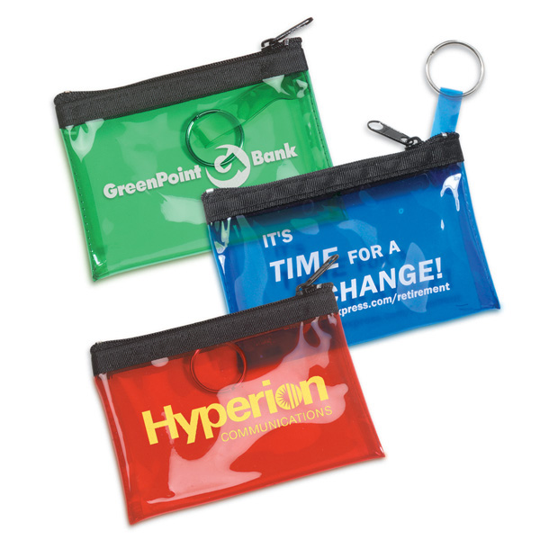 Promotional Translucent Vinyl Coin and Key Zippered Pouch