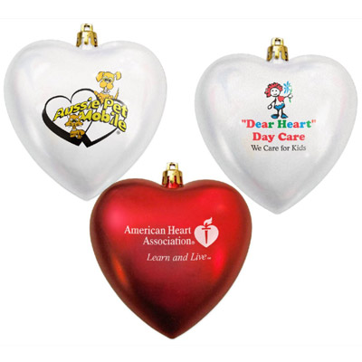 Promotional Heart Shaped Shatterproof Ornament