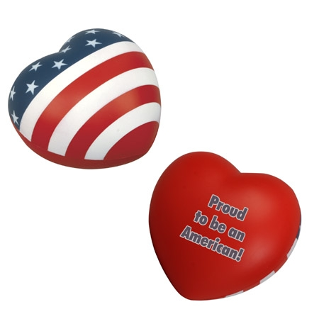 Promotional Patriotic Heart Shape Stress Ball