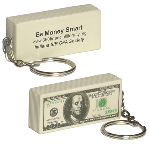 Promotional $100 Bill Key Chain Stress Reliever