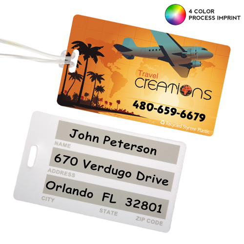 Promotional Recycled Standard 4 Color Process Write-On Surface Luggage Tag