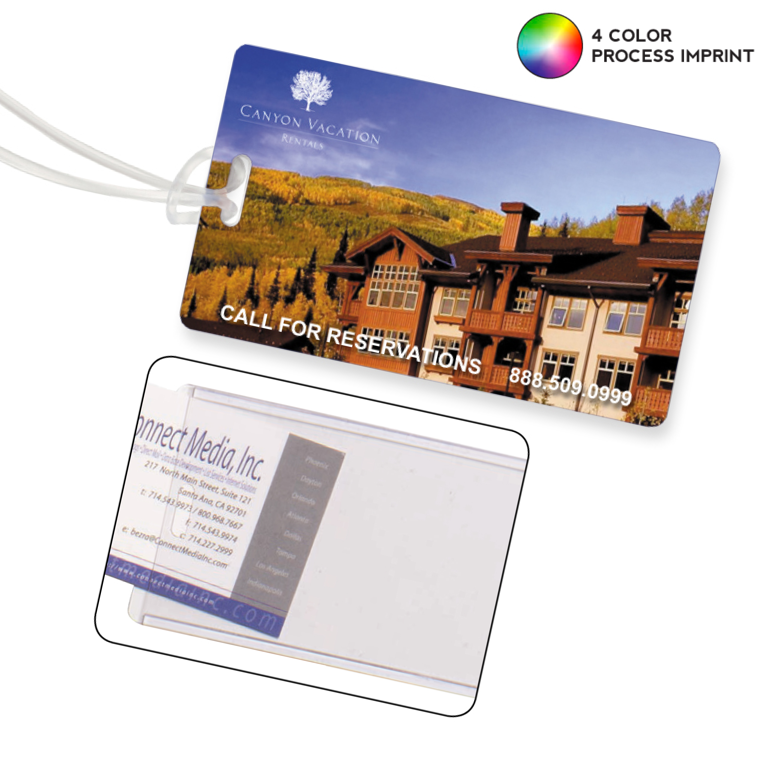 Promotional Slip-In Pocket Luggage Tag- 4 Color Process