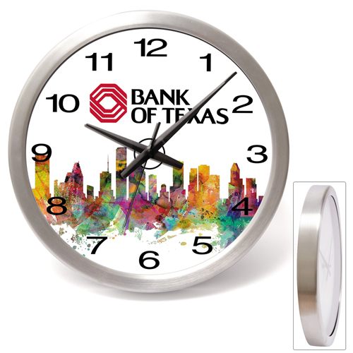 Brushed Metal Wall Clock-14""