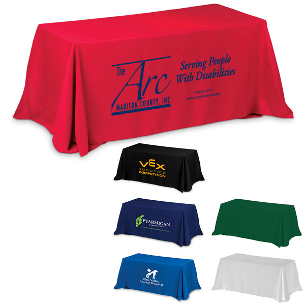 Throw style 3 sided table cover 6ft promotional throw for 10 ft table cloth