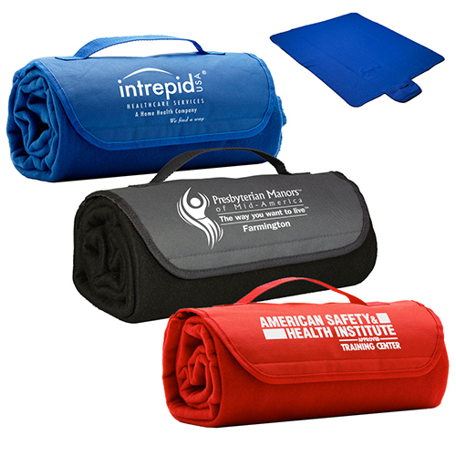 Promotional Ready To Roll Up Fleece Blanket