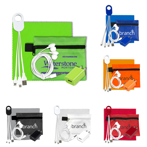 Promotional Mobile Tech Charging Kit In Zipper Pouch
