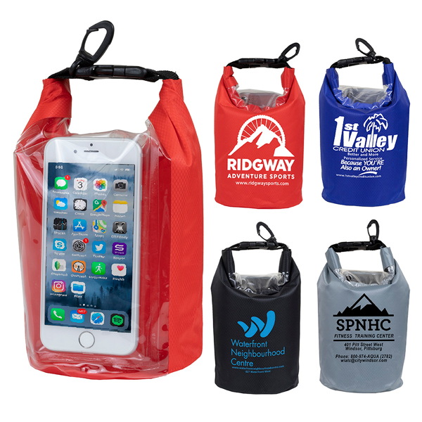 Promotional Logo Navagio  2.5 Liter Water Resistant Dry Bag With Clear Pocke