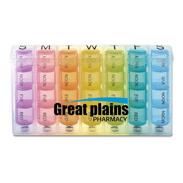 Promotional Rainbow Spring Loaded 7-Day Pill Box