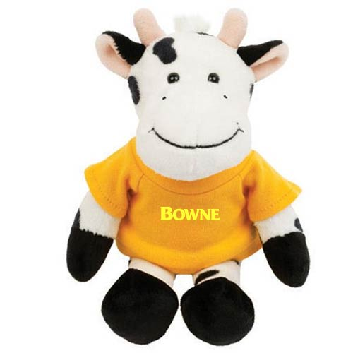 Promotional Black & White Cow Mascot Stuffed Animal