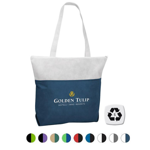 Promotional Poly Pro Two-Tone Zippered Tote
