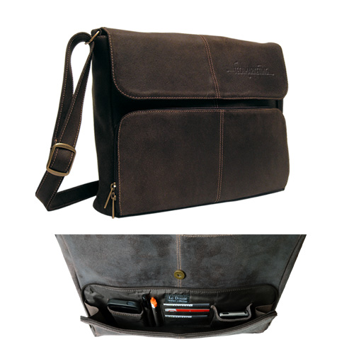 Promotional Distressed Leather 1/4 Flap Messenger Briefcase
