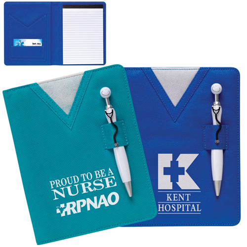 Promotional Scrubs Notebook with Swanky Stethoscope Pen
