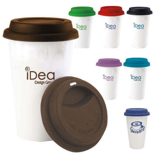 Promotional Double Wall Ceramic Tumbler with Lid - 9oz