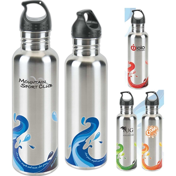 Promotional Stainless Wave Water Bottle - 25 oz.