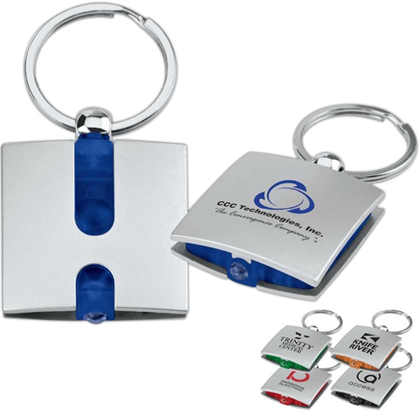 Promotional Square White LED Flashlight Key Ring