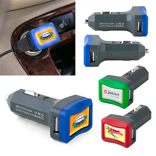 Promotional Power Lit Dual-Port USB Car Charger