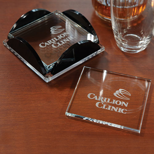 Promotional Square Glass Coaster Set
