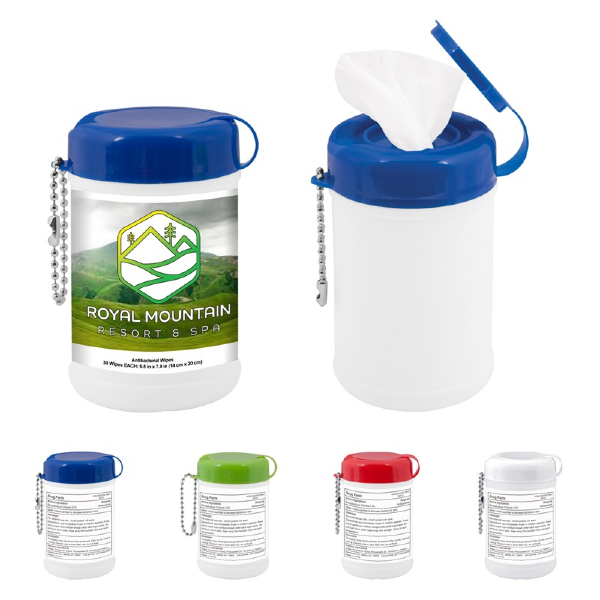 Promotional Wet Wipes Mini Keychain Canister