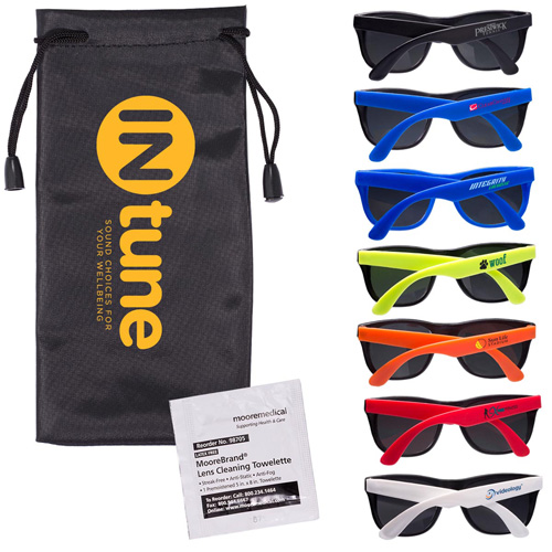 Promotional Matte Sunglasses & Lens Cleaning Wipe In A Pouch