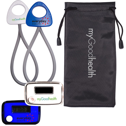 Promotional Stride Pedometer & Stretch Band in a Pouch