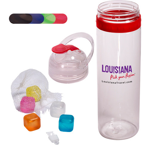 Promotional TritanTM Traveler Water Bottle and Ice Cubes Set