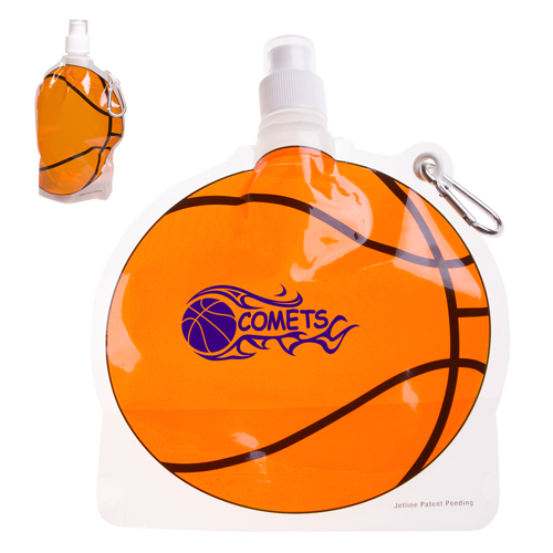 Promotional Basketball Collapsible Water Bottle - 24oz.
