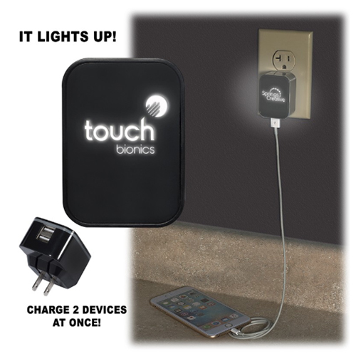 Promotional Light Up Your Logo Duo USB Wall Chareger