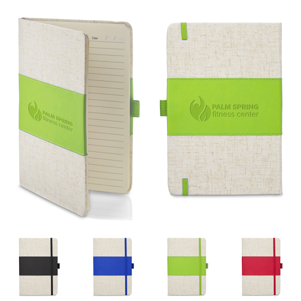 Promotional Soft Cover PU & Heathered Fabric Journal - 5