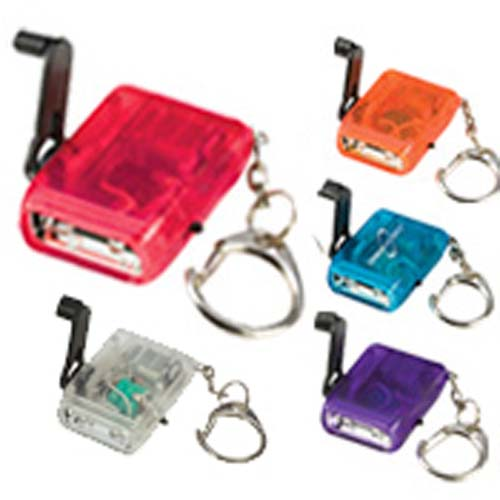 Promotional Crank LED Flashlight Keychain