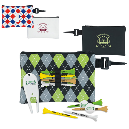 Promotional Pattern Golf Pouch Tee Kit - Value Kit