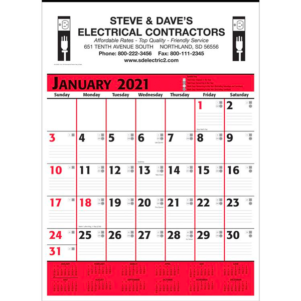Promotional Commercial Planner Wall Calendar