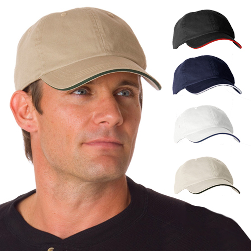 Promotional Bayside Unconstructed Washed Cotton Sandwich Cap