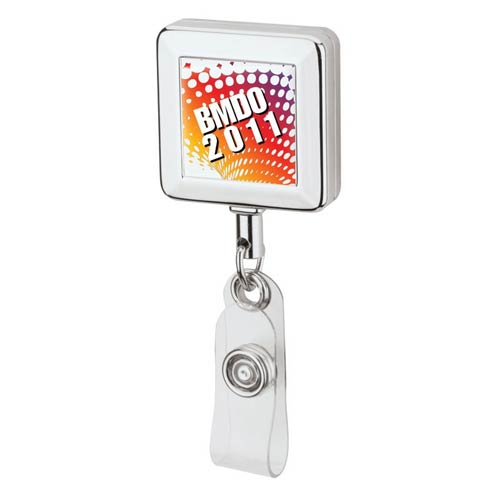 Square Chrome Finish Badge Holder