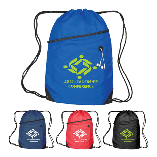 Promotional Luna Polyester Drawstring Backpack - 4 Color Process