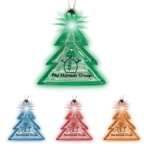 Promotional Holiday Tree Lighted Charm Necklace