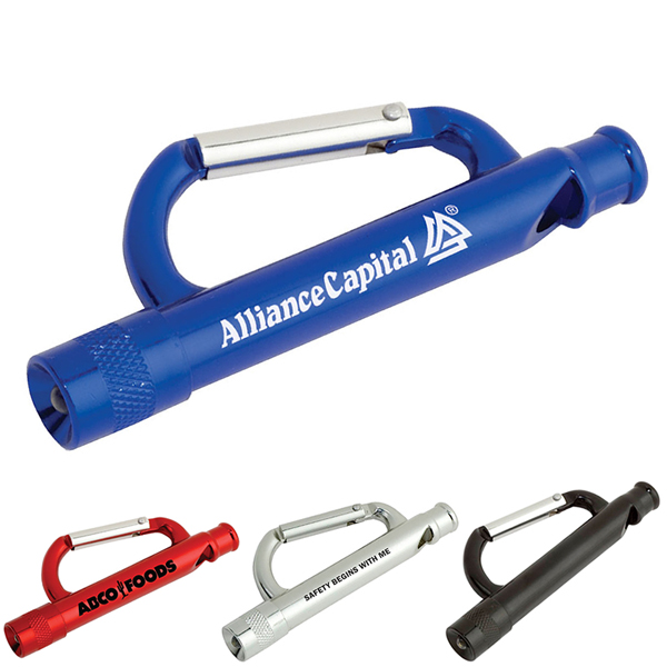 View Image 2 of Carabiner Whistle Flashlight