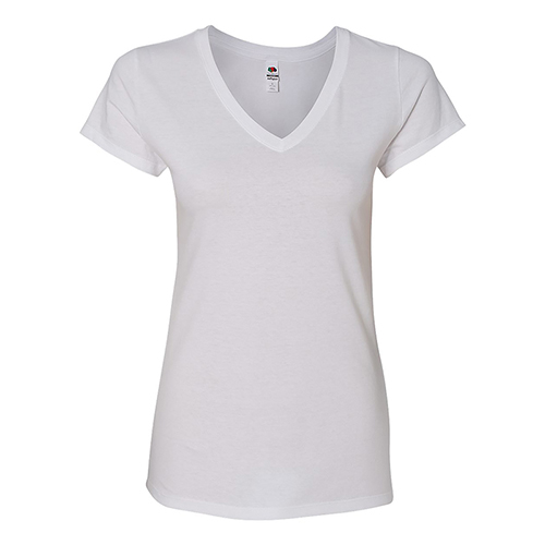 Promotional Fruit of the Loom® Sofspun® Ladies Junior Fit V-Neck - W