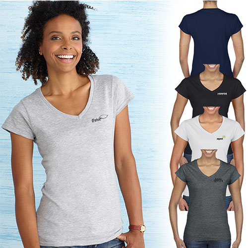 Promotional Gildan® Softstyle® ladies V-Neck T-Shirt - Colors