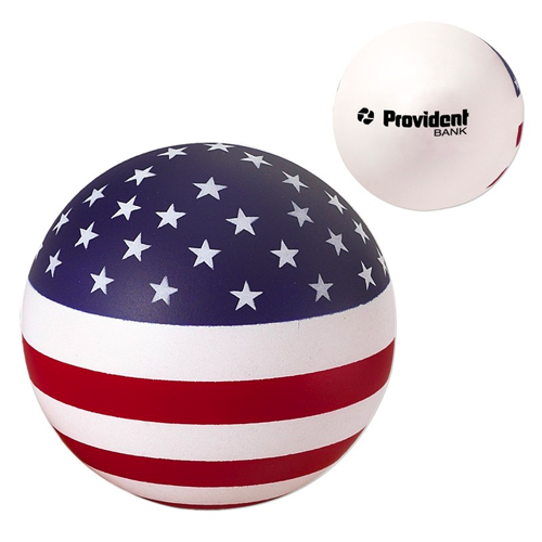 Promotional USA Patriotic Round Stress Reliever