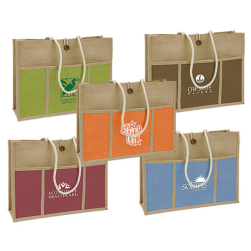 Promotional Jute Panel Pocket Tote
