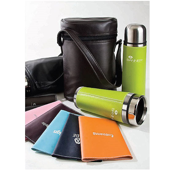 Promotional Leatherette Tumbler & Vacuum Bottle Set
