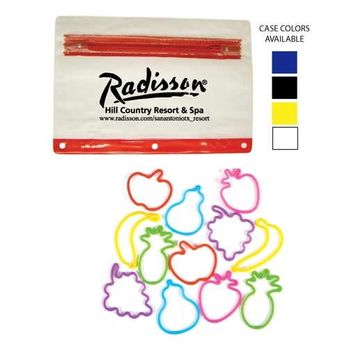 Promotional Rubber Band Bracelets in Zipper Pouch